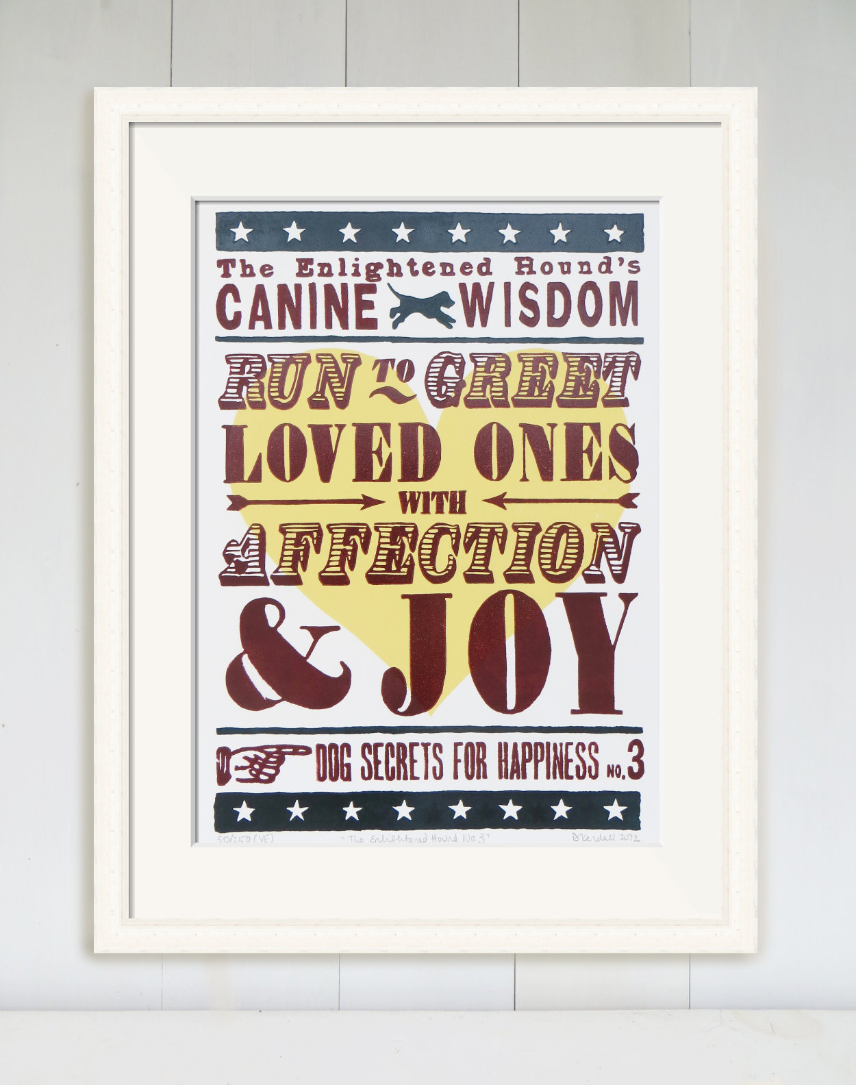Dog Wisdom Word Art Limited Edition Linoprint | The Enlightened Hound