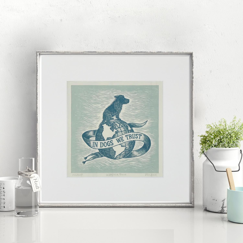 In Dogs We Trust Framed Linoprint Art | The Enlightened Hound