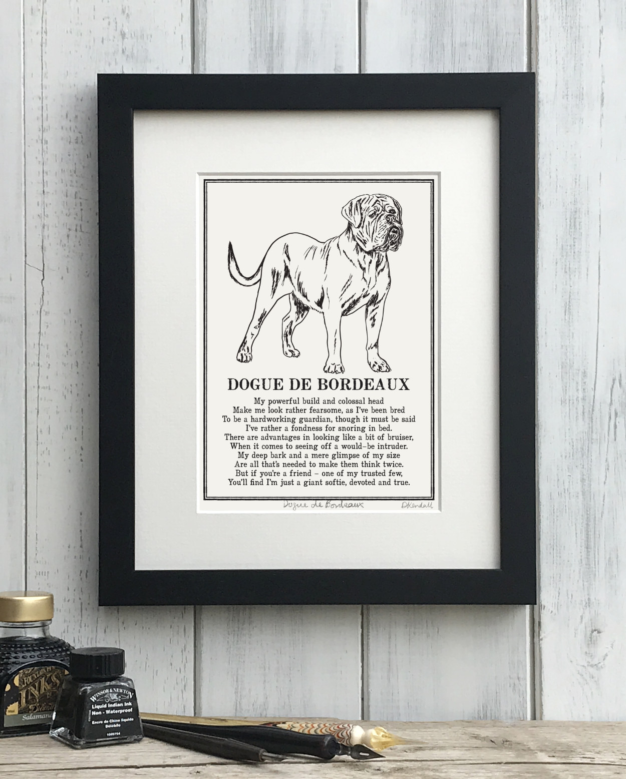 Dogue de Bordeaux French Mastiff Doggerel Illustrated Poem Art Print | The Enlightened Hound