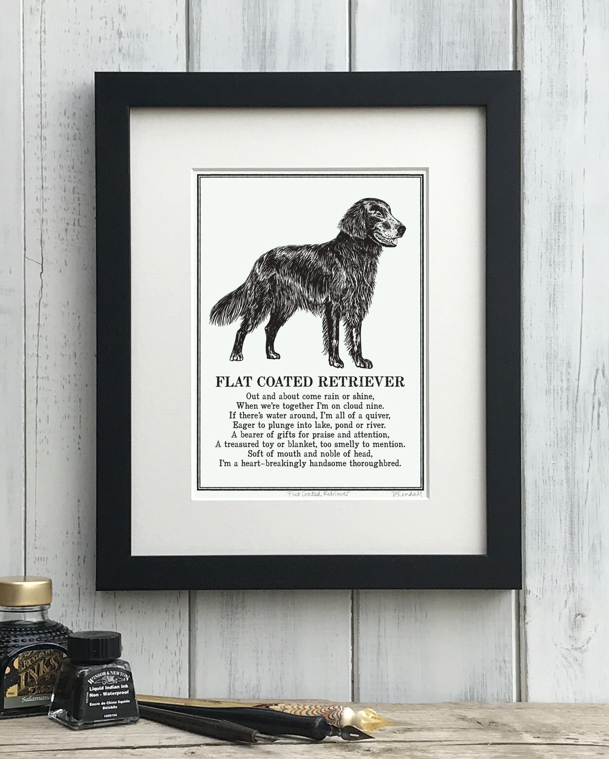 Flat Coated Retriever print illustrated poem by The Enlightened Hound