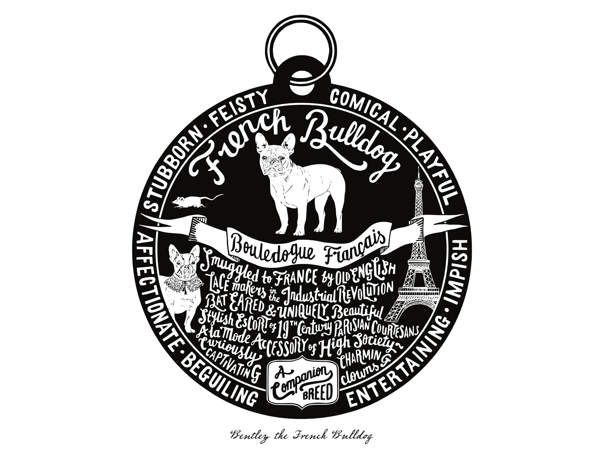 French Bulldog Dog Tag Print