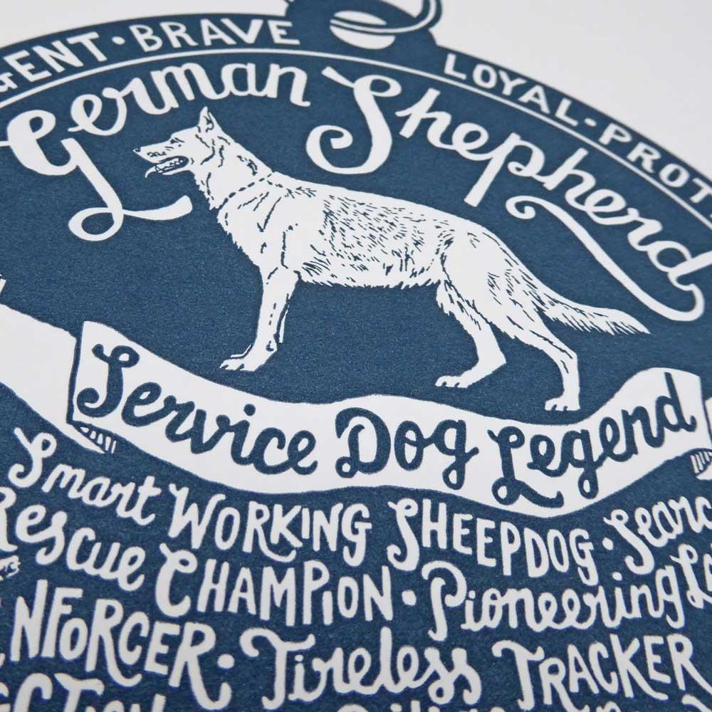 German Shepherd Dog Alsatian original art prints - Hand lettering & Illustration by Debbie Kendall
