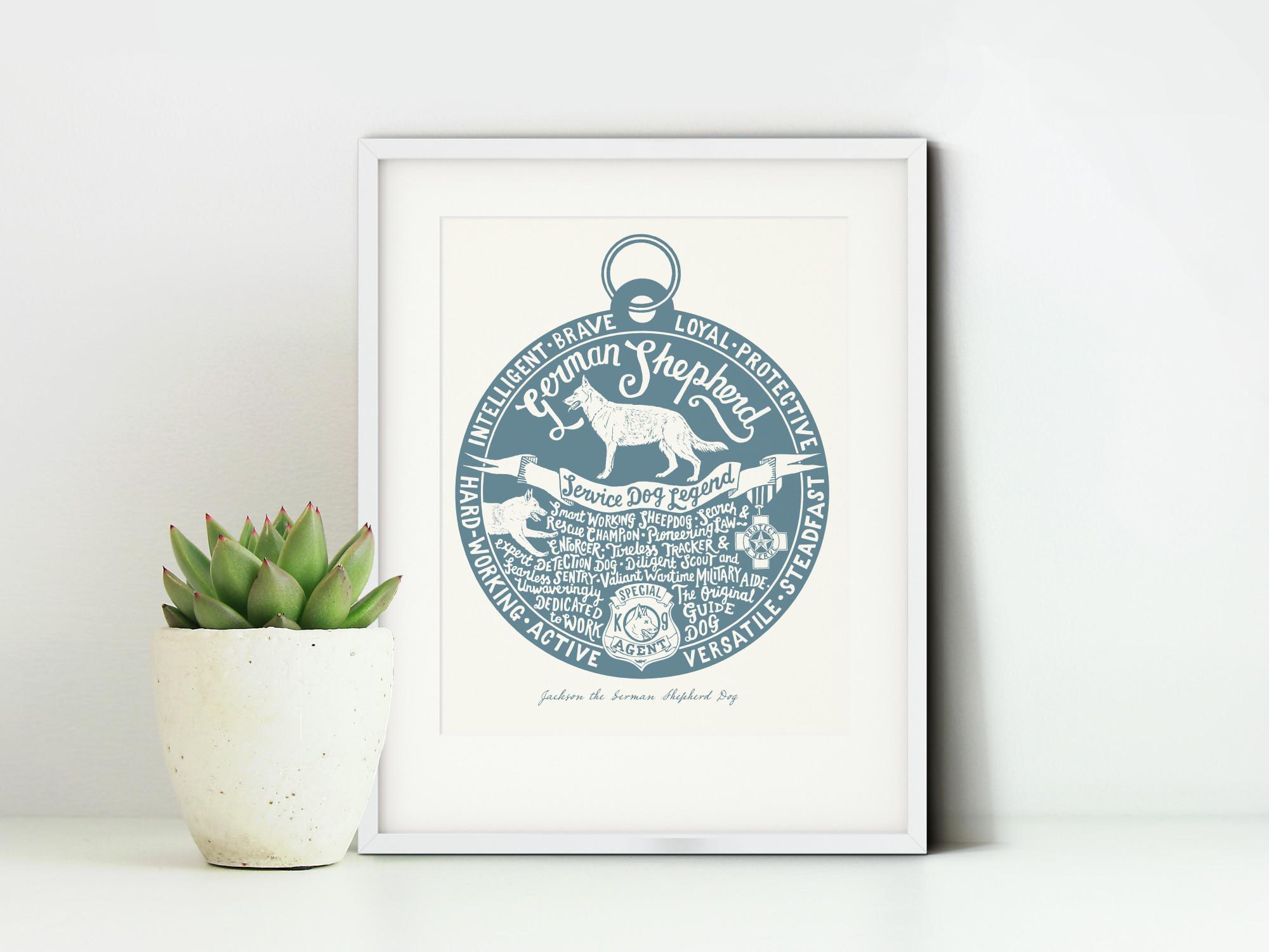 German Shepherd Dog Art Print | The Enlightened Hound