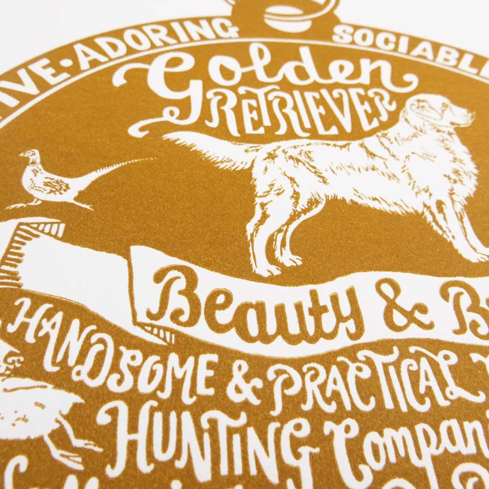 Golden Retriever original art prints - Hand lettering & Illustration by Debbie Kendall