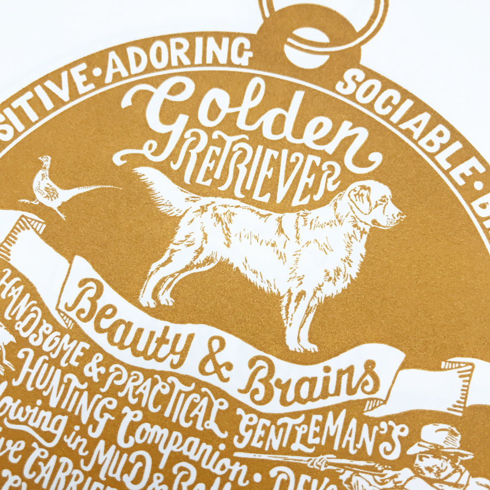 Golden Retriever Illustration Lettering | The Enlightened Hound