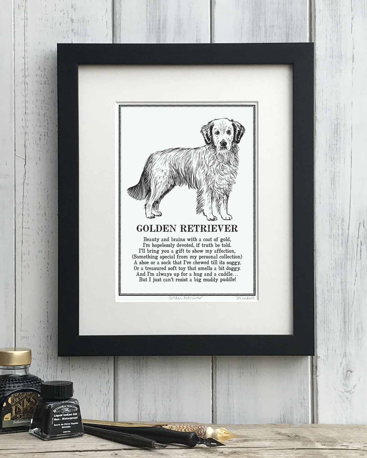 Golden Retriever print illustrated poem by The Enlightened Hound