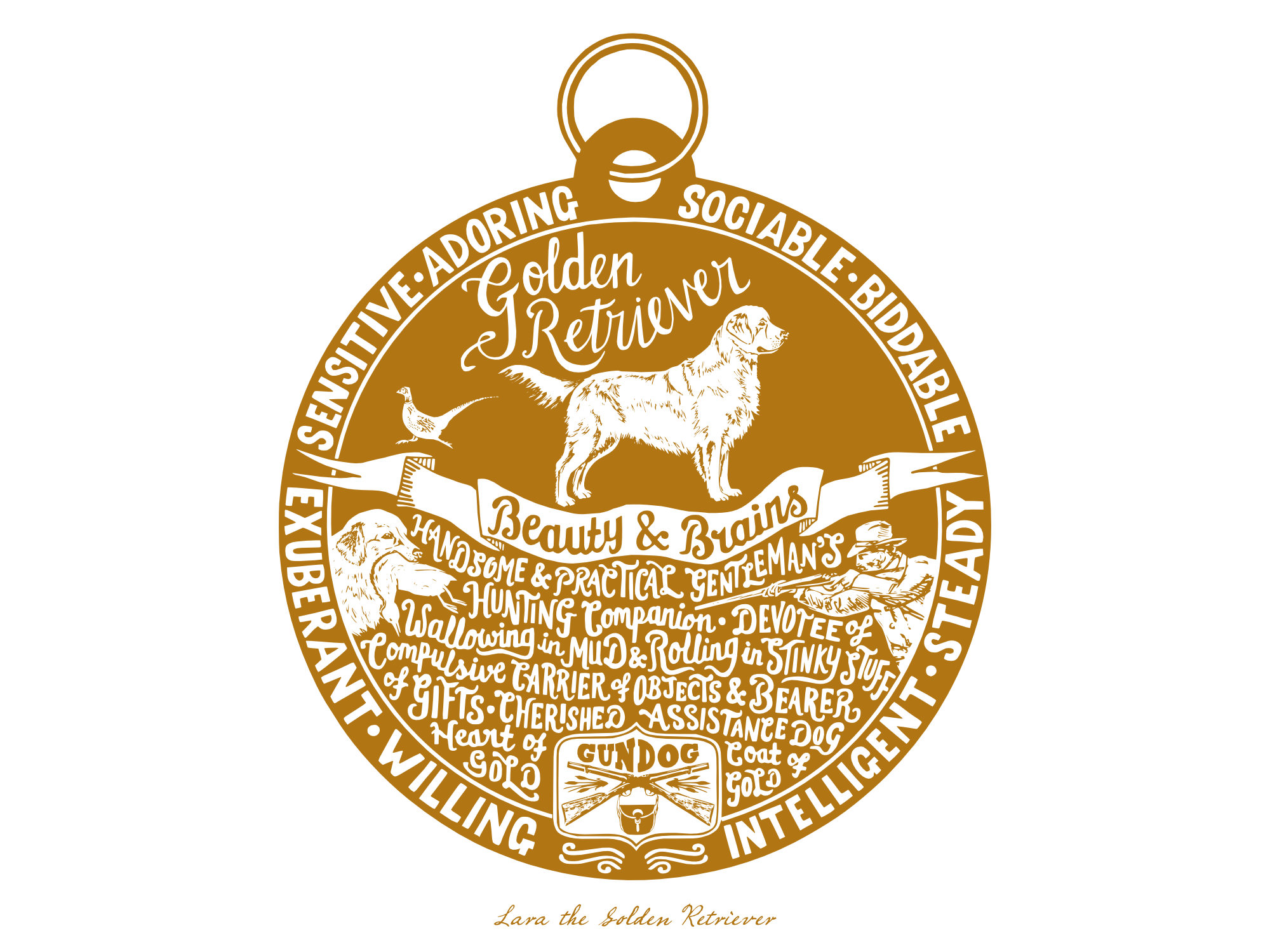 Golden Retriever prints - Hand lettering & Illustration by Debbie Kendall