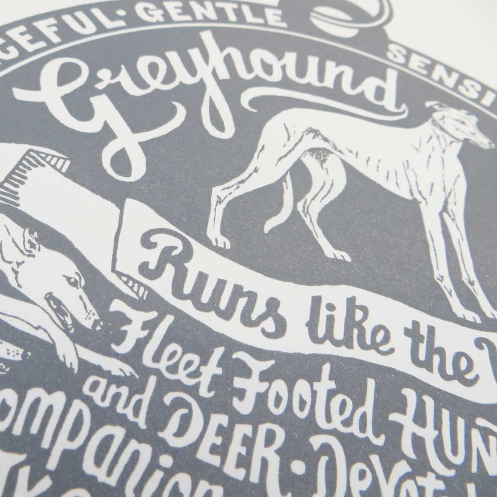 Greyhound original art prints - Hand lettering & Illustration by Debbie Kendall
