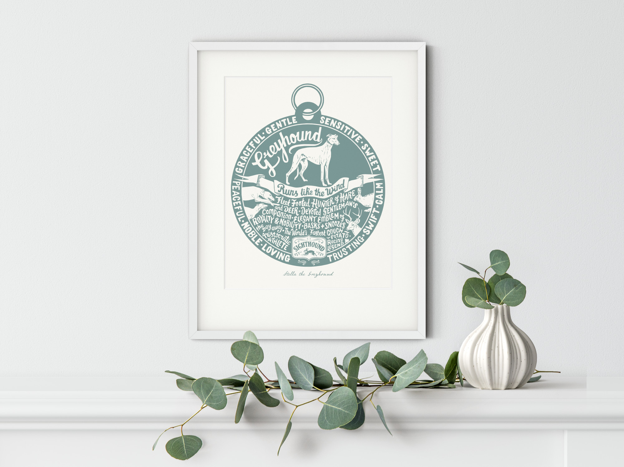 Greyhound Dog Art Print | The Enlightened Hound