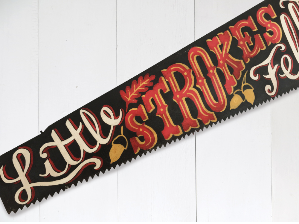 Hand Painted Lettering Vintage Saw |The Enlightened Hound