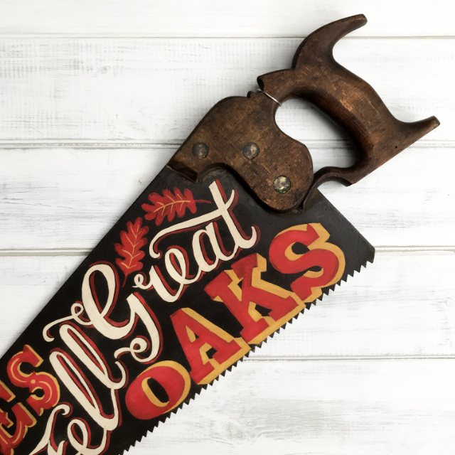 Hand painted lettering vintage saw | The Enlightened Hound