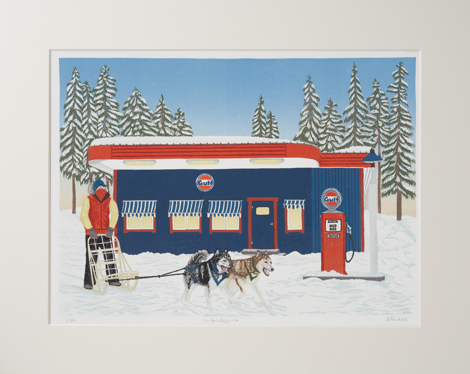 No Gas Required Dog Sled Limited Edition Linoprint | The Enlightened Hound