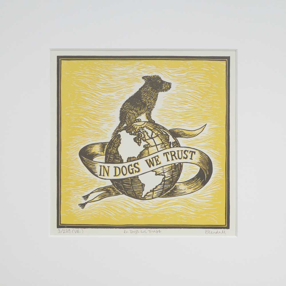 In Dogs We Trust print - yellow - by The Enlightened Hound