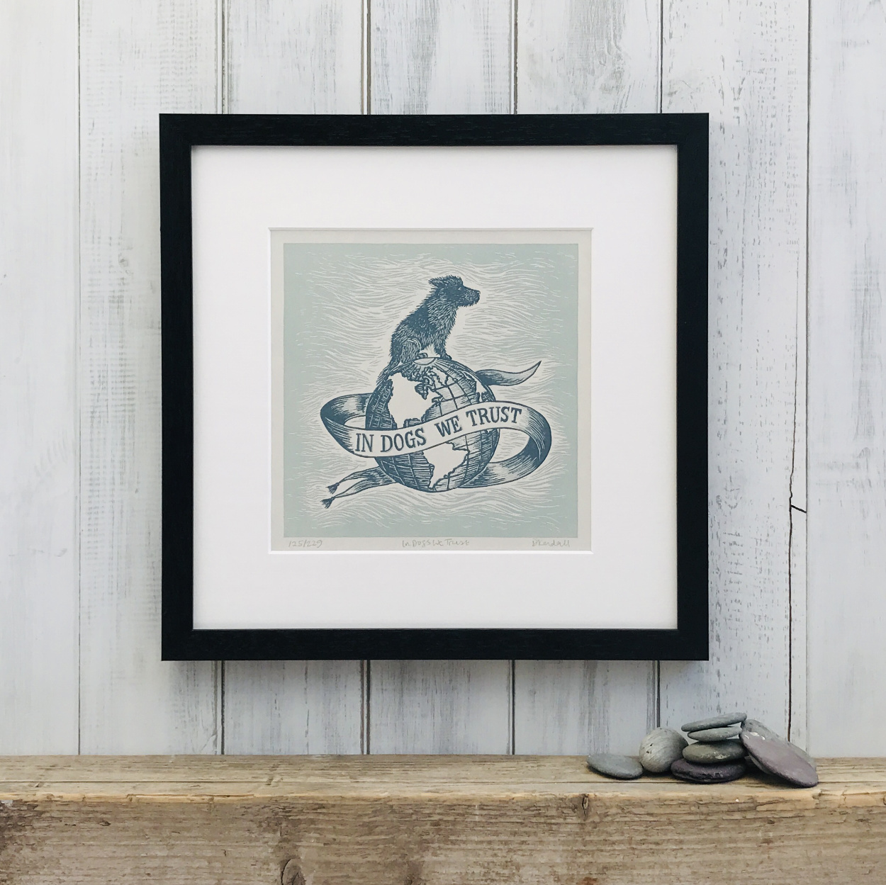 In Dogs We Trust Limited Edition Blue Linoprint | The Enlightened Hound