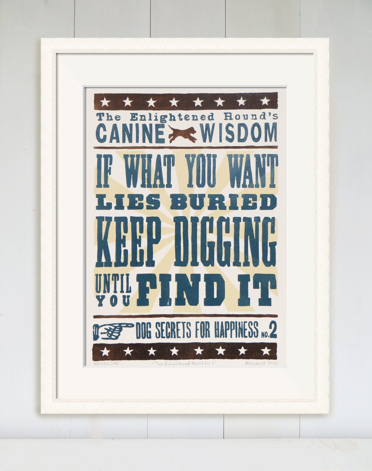 Canine Wisdom Inspirational Quote Limited Edition Linoprint | The Enlightened Hound