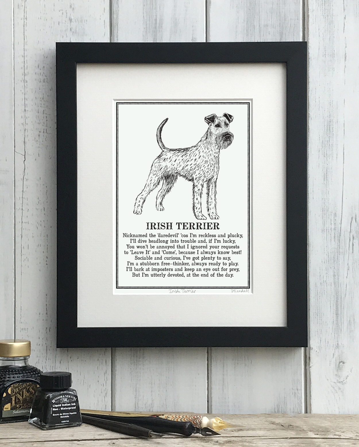 Irish Terrier print illustrated poem by The Enlightened Hound
