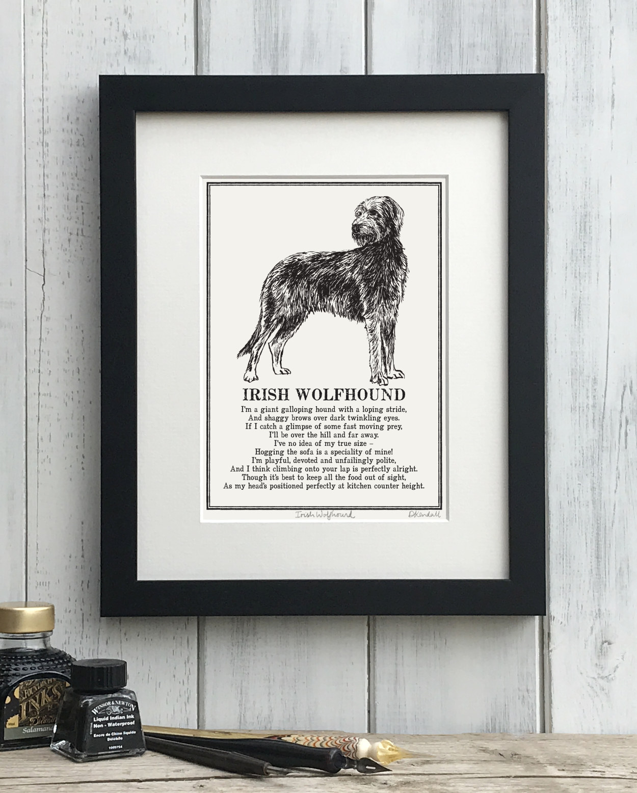 Irish Wolfhound  Doggerel Illustrated Poem Art Print | The Enlightened Hound