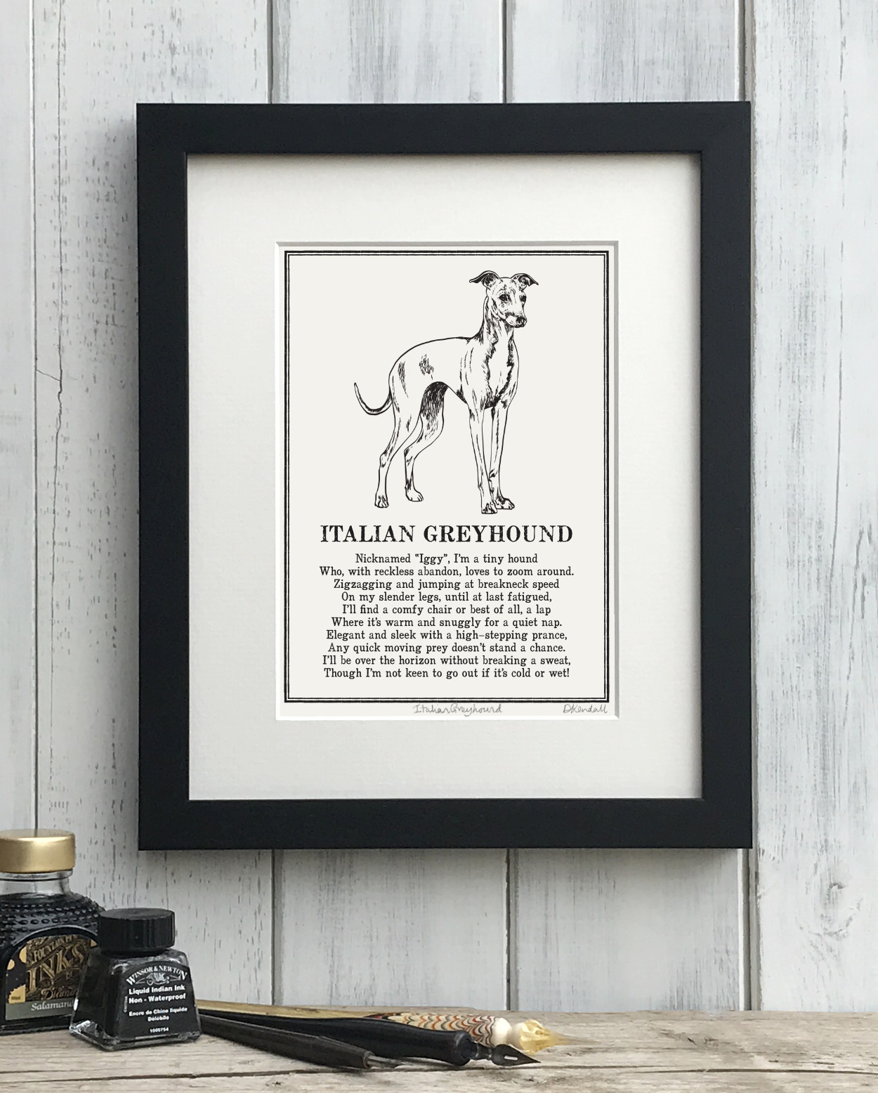 Italian Greyhound print illustrated poem by The Enlightened Hound