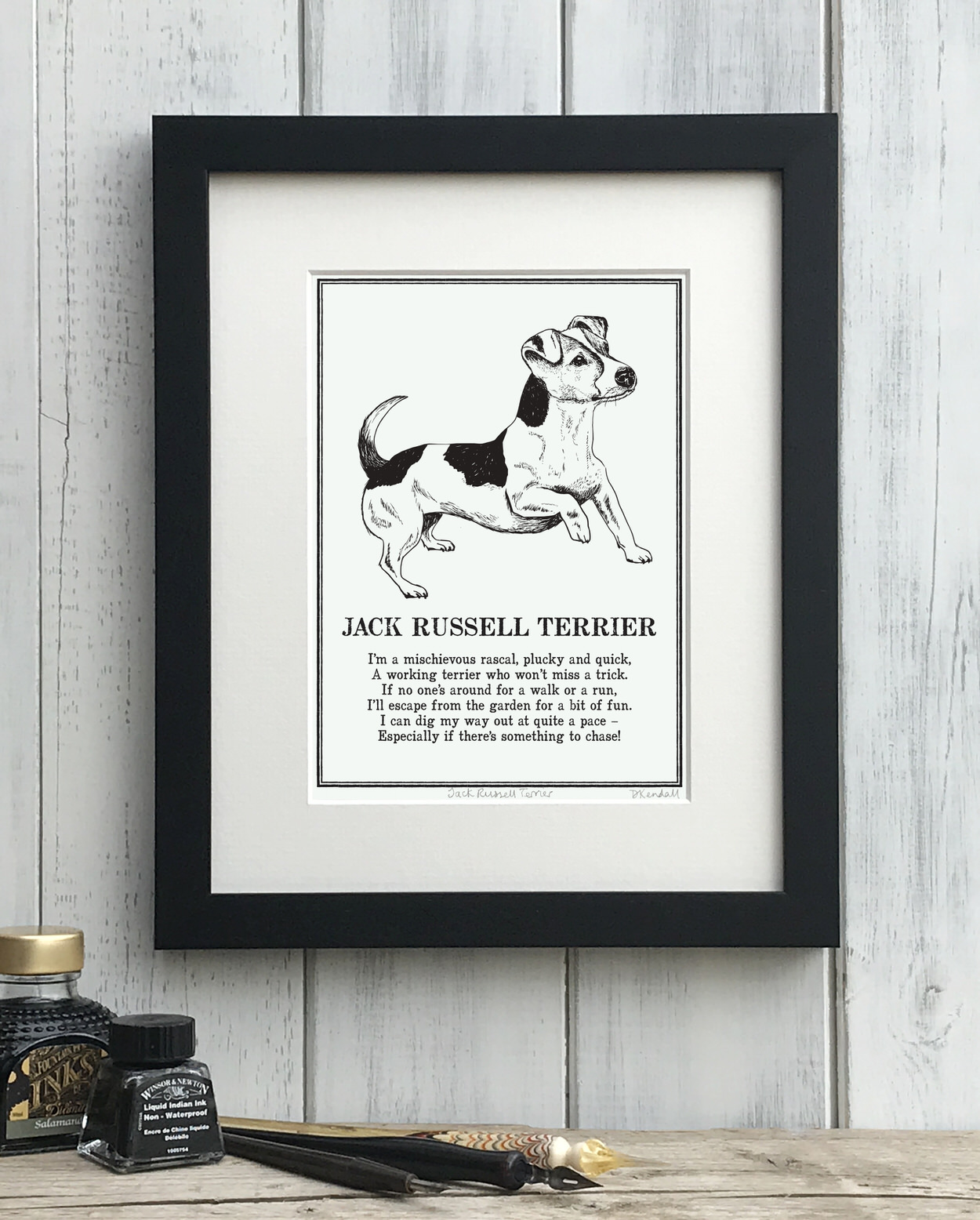 Jack Rusell Terrier print illustrated poem by The Enlightened Hound