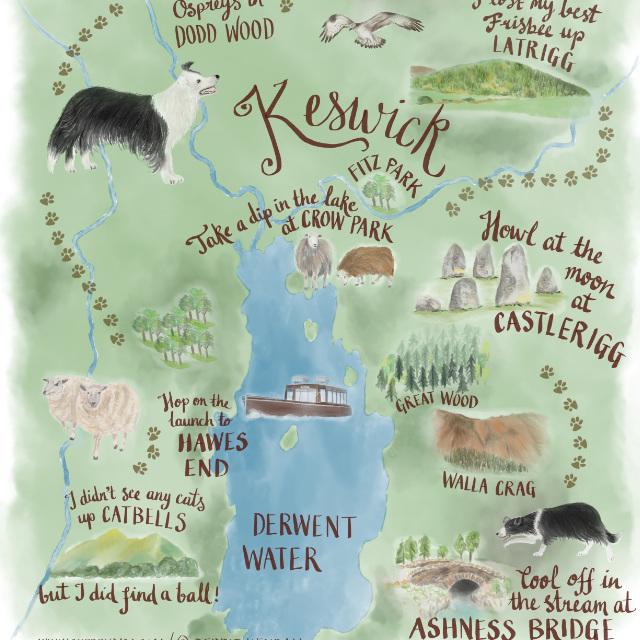 Lake District Keswick Illustration | The Enlightened Hound