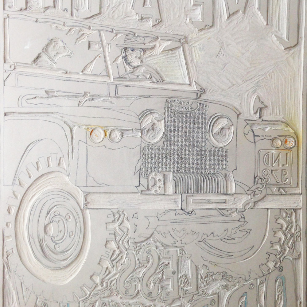 Carved Linoprint Plate Land Rover | The Enlightened Hound