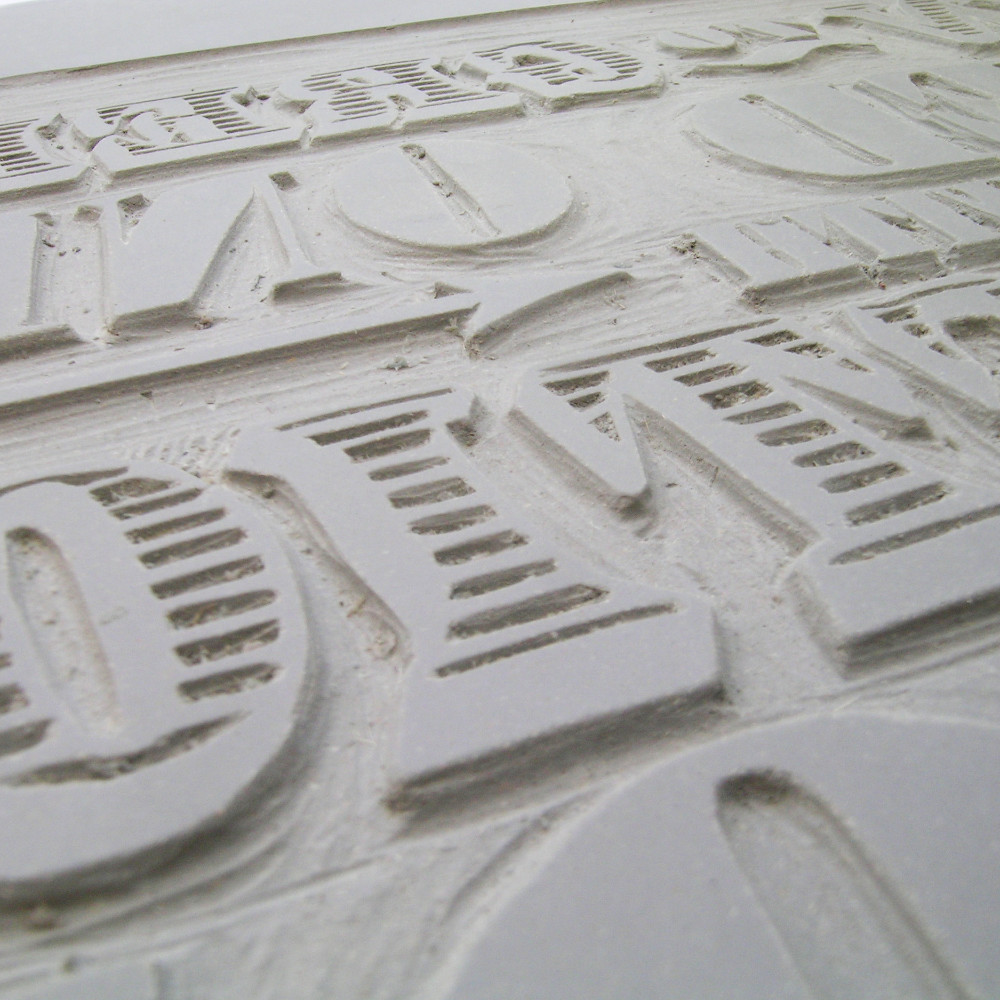 Linoprint Plate Carved Lettering  |The Enlightened Hound