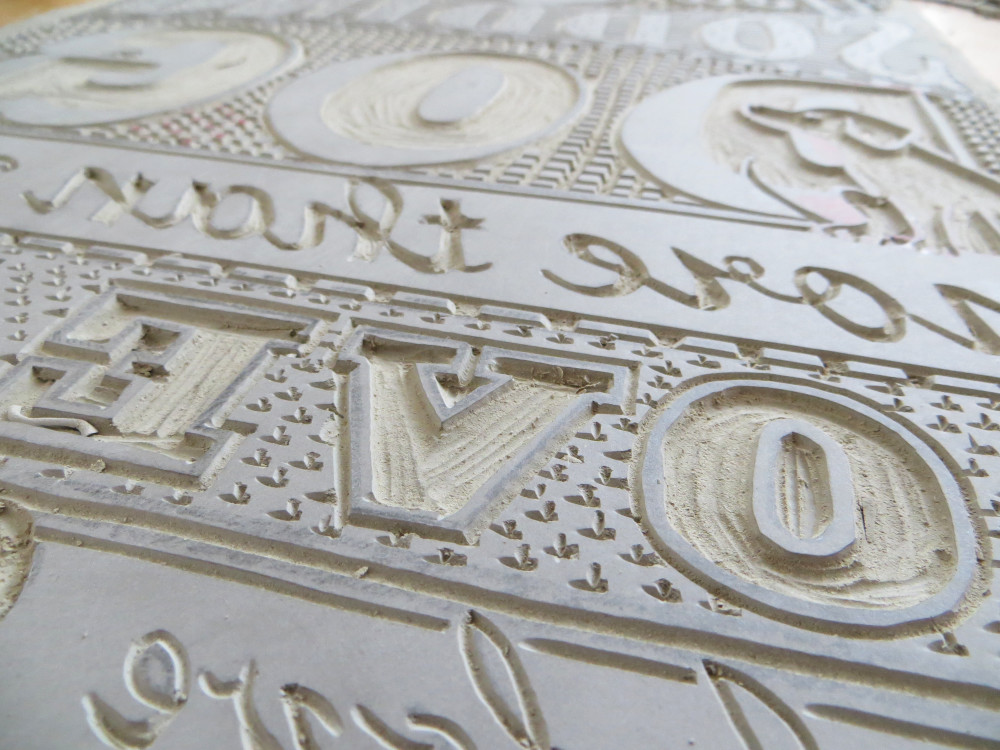 Linoleum Printing Plate Carved Lettering | The Enlightened Hound
