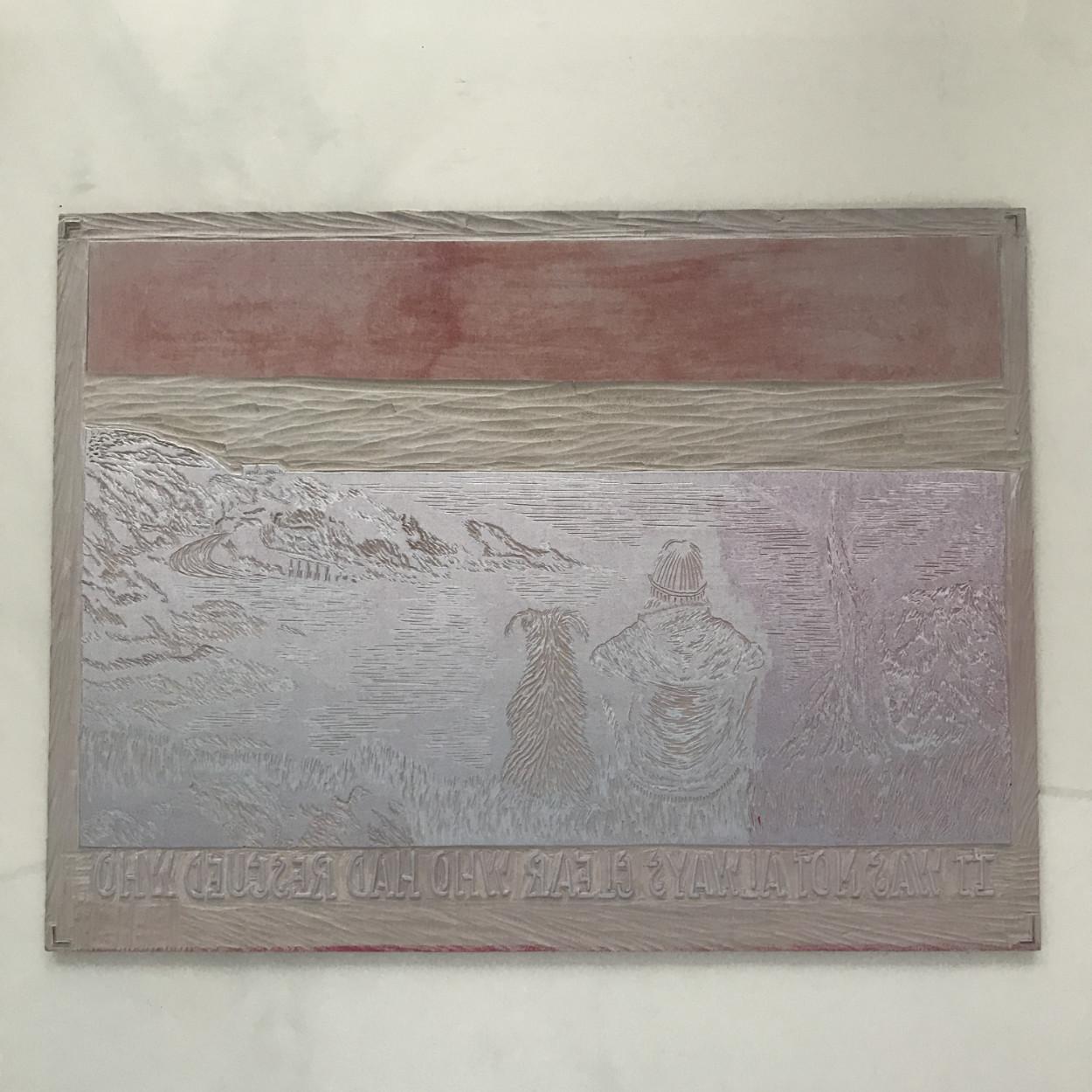 linoprint plate inked