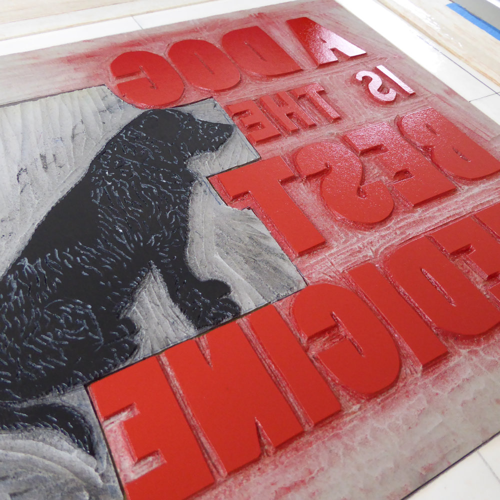 Linoprint Inked Plate Lettering Dog | The Enlightened Hound