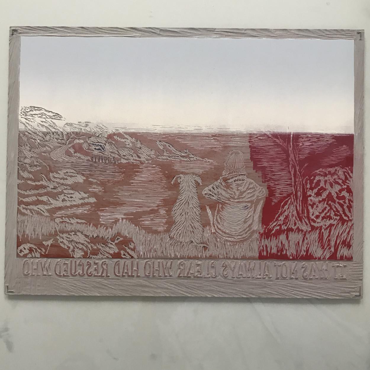 Inked linoprint for sky