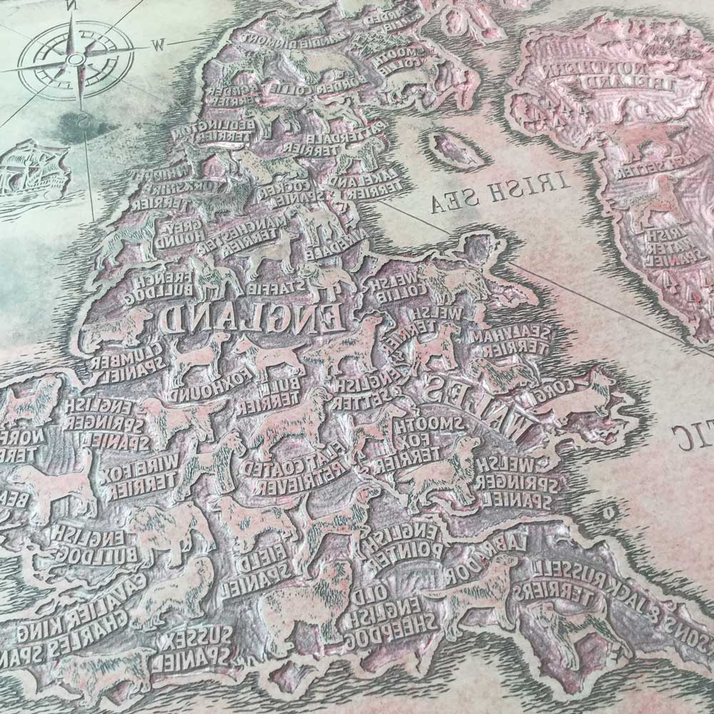 Dogs Map Hand Carved Lino Plate | The Enlightened Hound