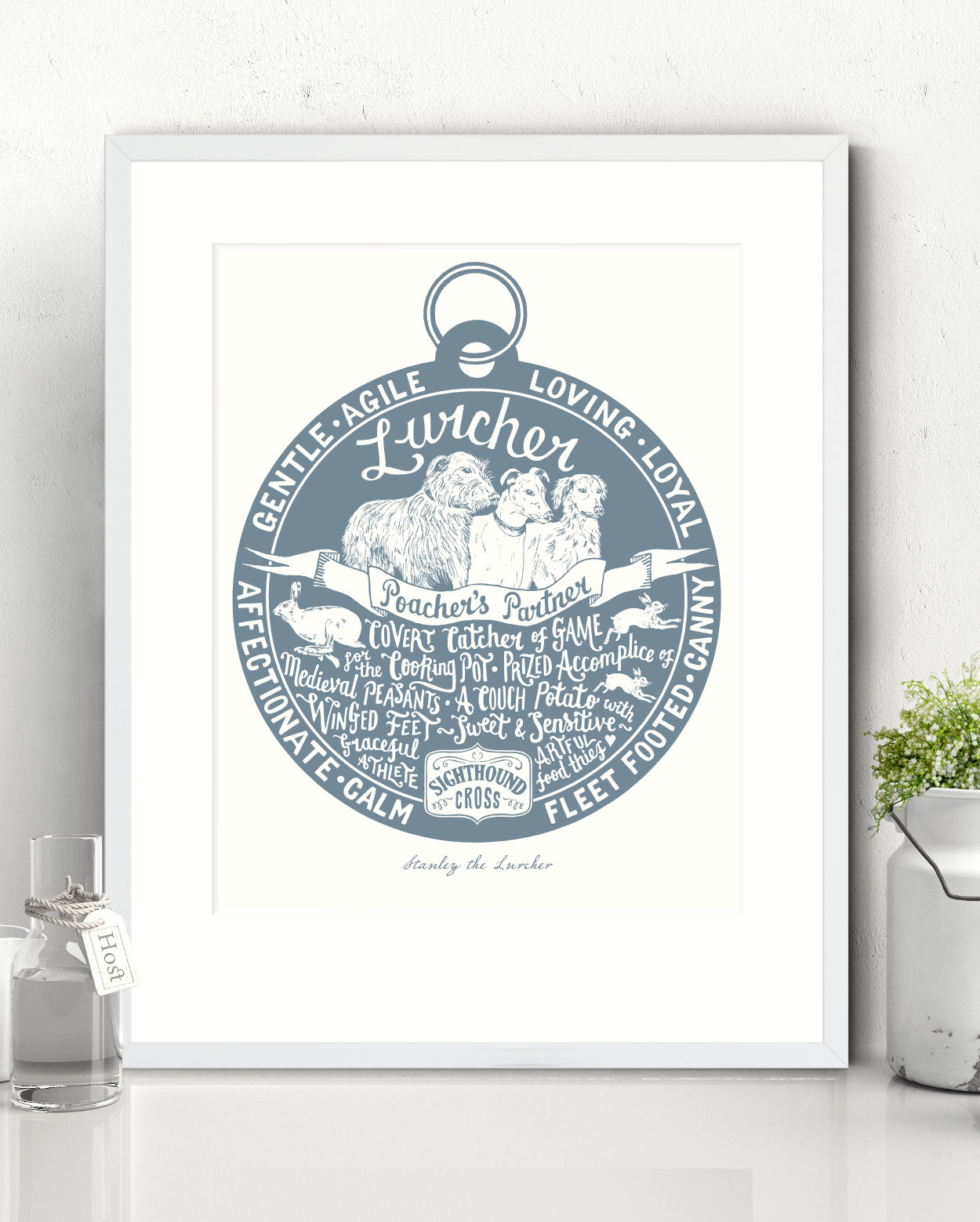 Lurcher Illustrated Art Print | The Enlightened Hound