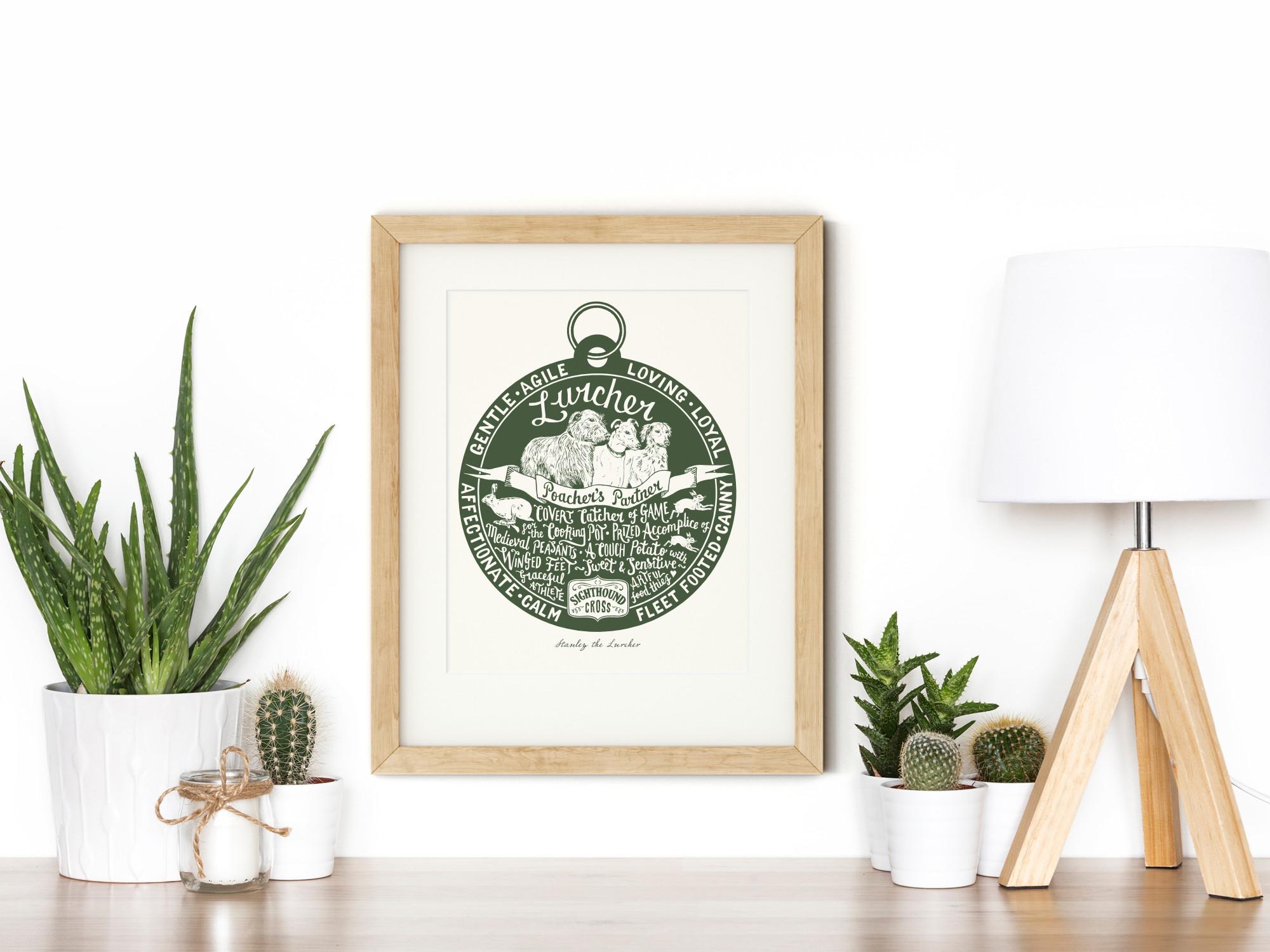 Lurcher Sighthound Art Print | The Enlightened Hound