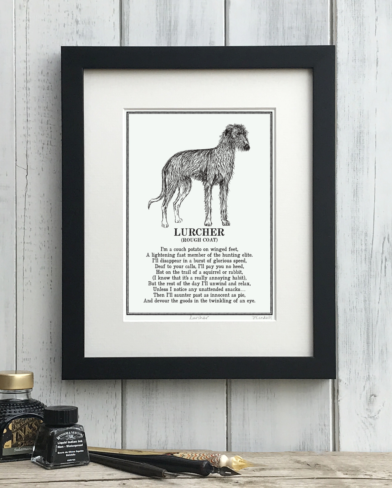 Rough coated Lurcher Print - The Enlightened Hound