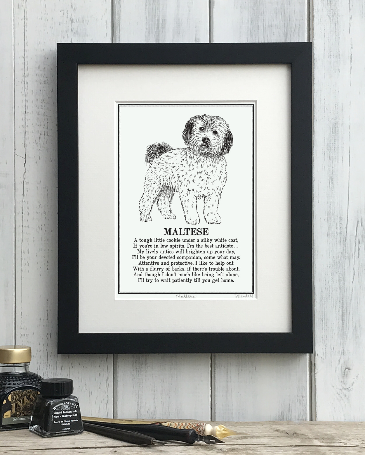Maltese print illustrated poem by The Enlightened Hound