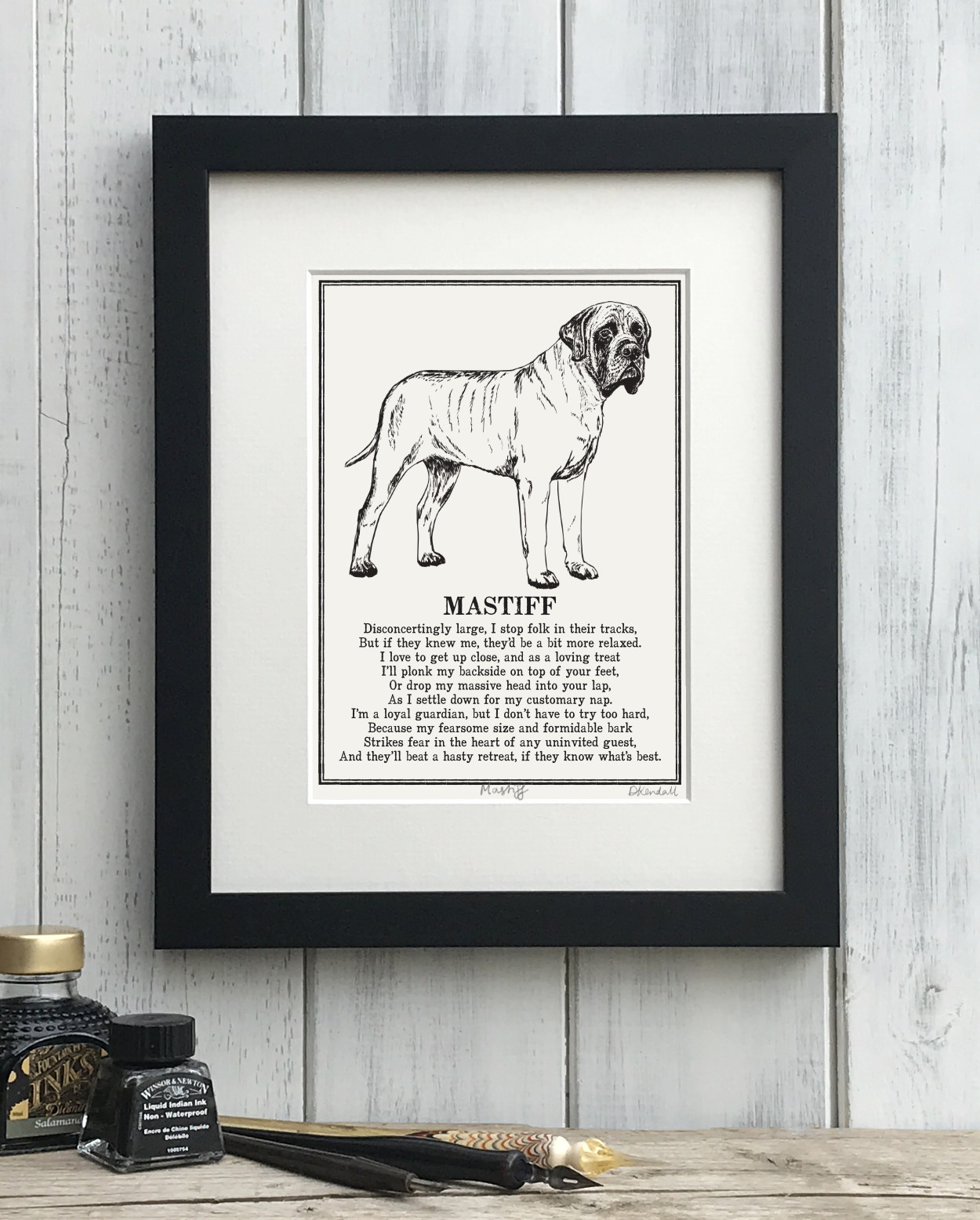 English Mastiff Doggerel Illustrated Poem Art Print | The Enlightened Hound