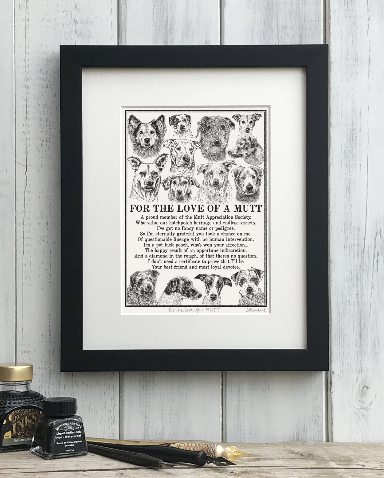 Mutt Mixed Breed Mongrel Dog Illustrated Poem Art Print | The Enlightened Hound