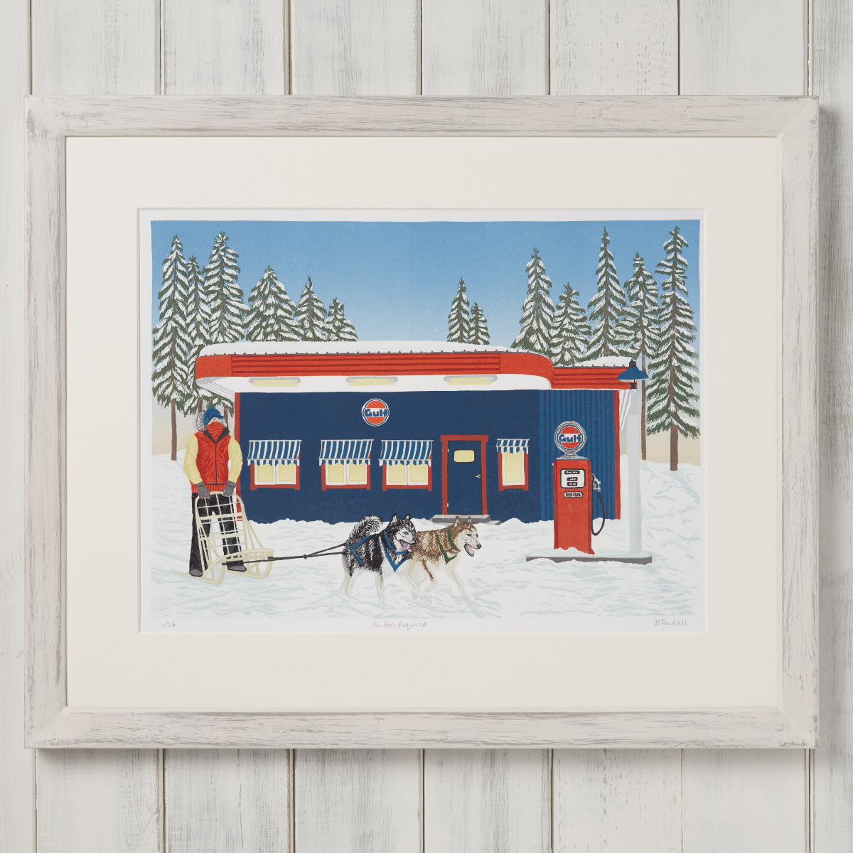 Framed No Gas Required Dog Sled Gas Station Linoprint  | The Enlightened Hound