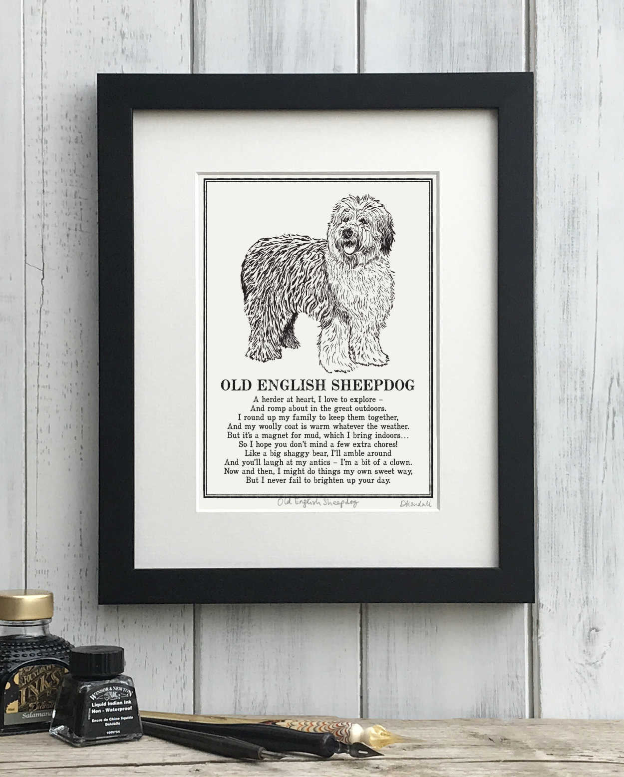 Old English Sheepdog Doggerel Illustrated Poem Art Print | The Enlightened Hound