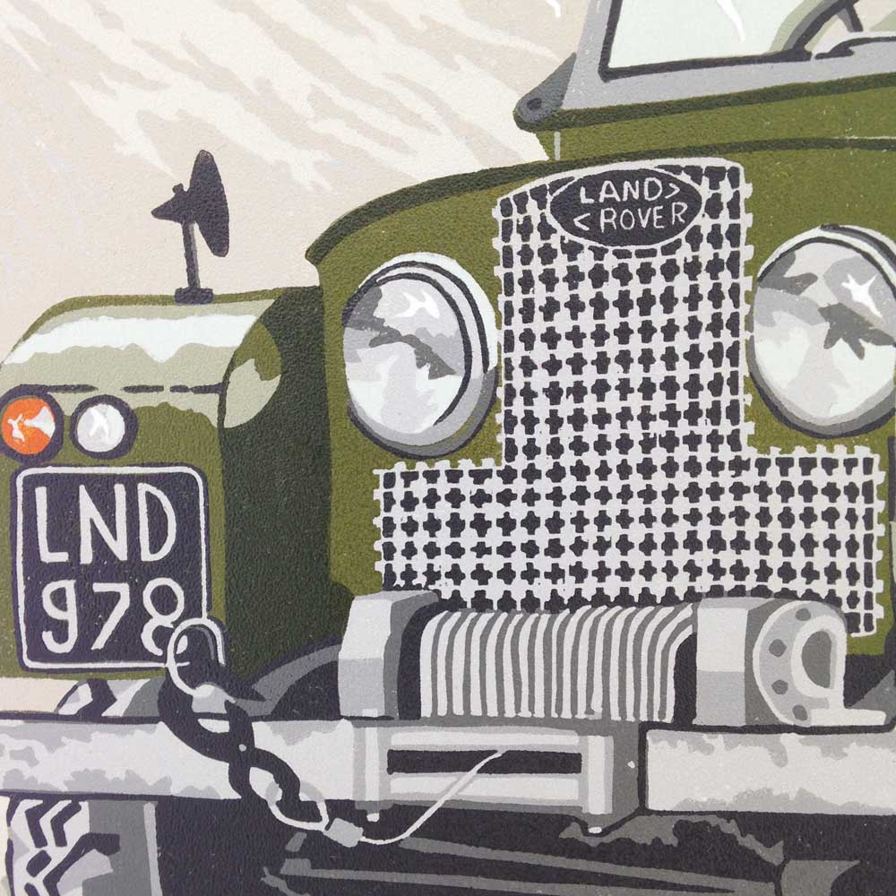 Old Land Rover Series Linoprint  |The Enlightened Hound