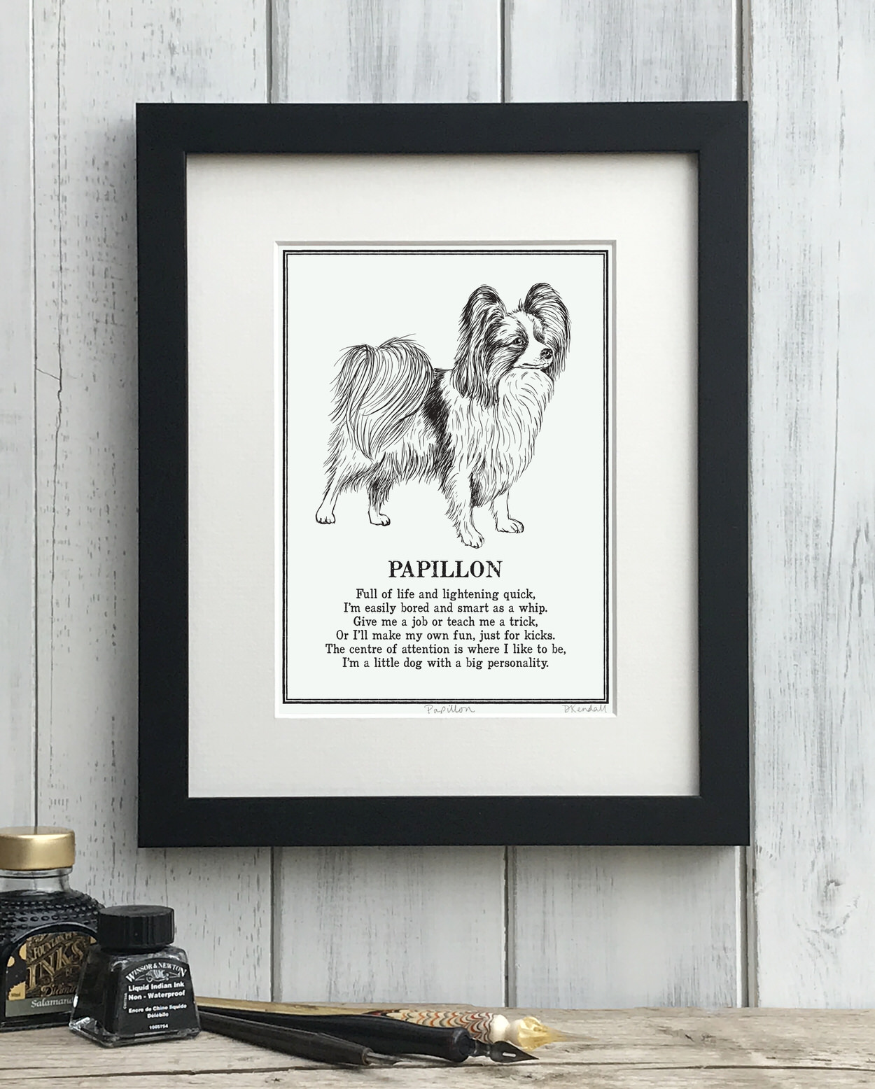 Papillon print illustrated poem by The Enlightened Hound