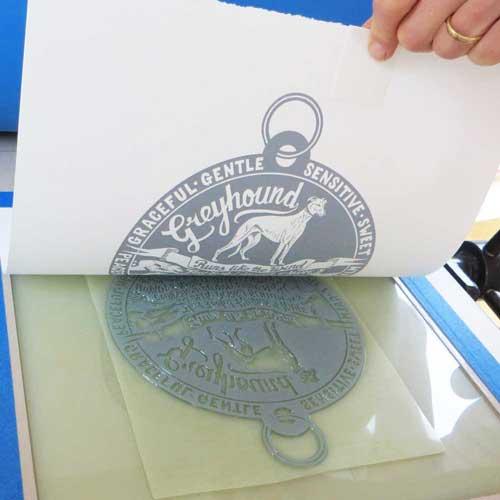 Greyhound art print from photopolymer plate Debbie Kendall