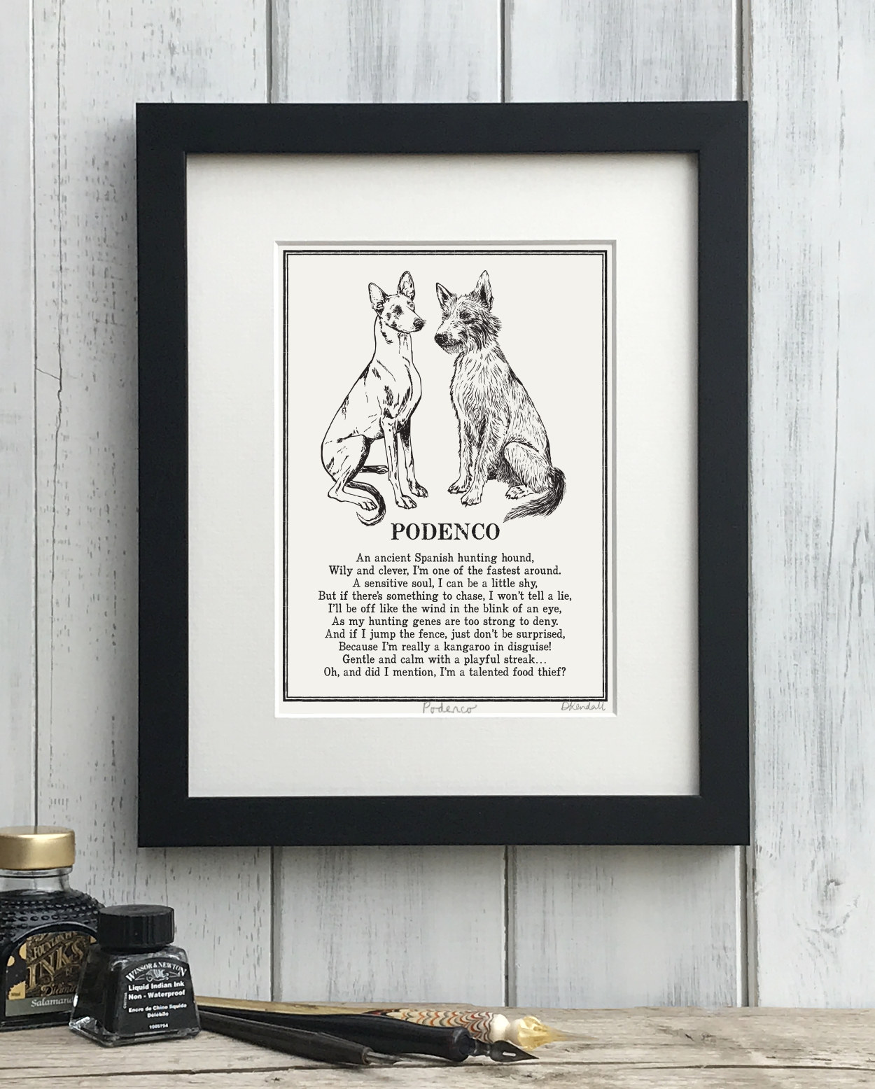 Podenco Doggerel Print