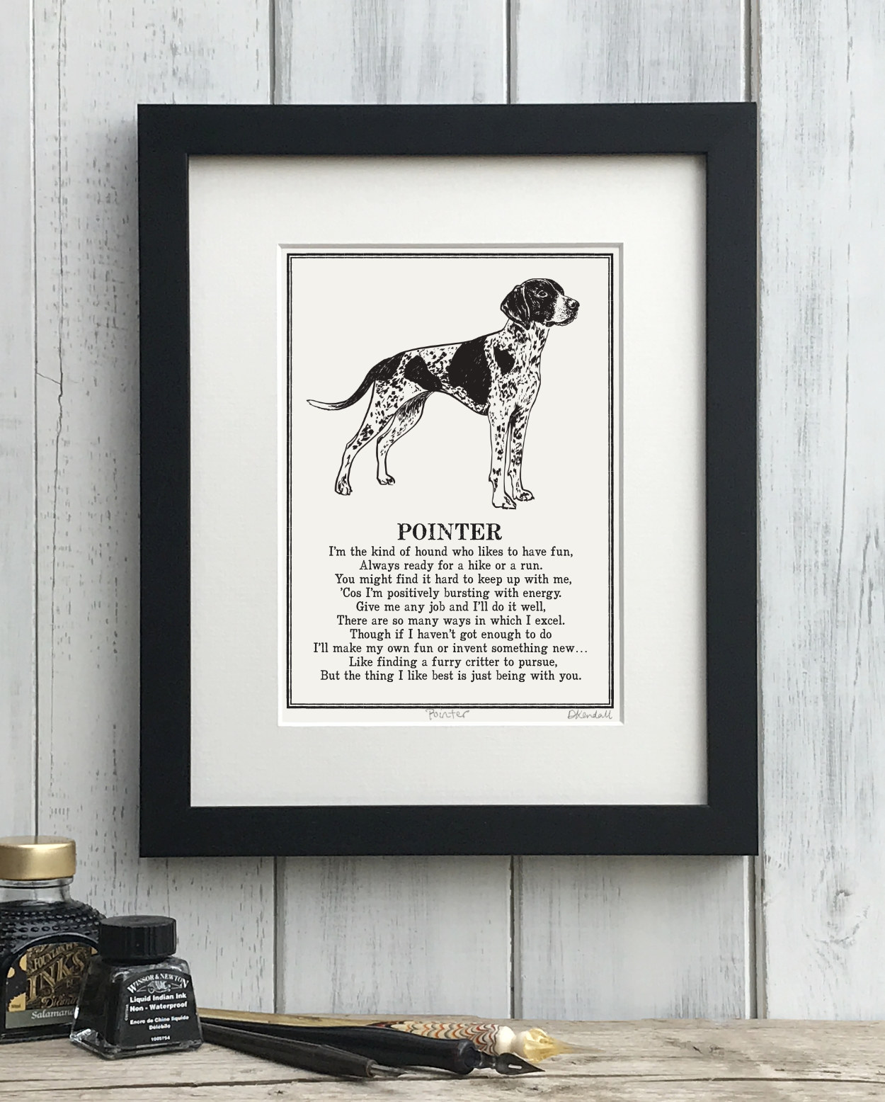 Pointer print illustrated poem by The Enlightened Hound