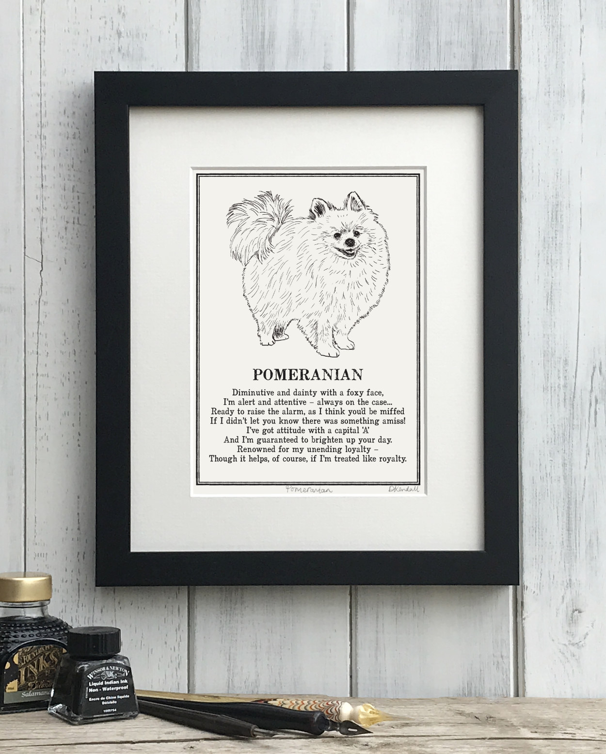 Pomeranian Doggerel Illustrated Poem Art Print | The Enlightened Hound