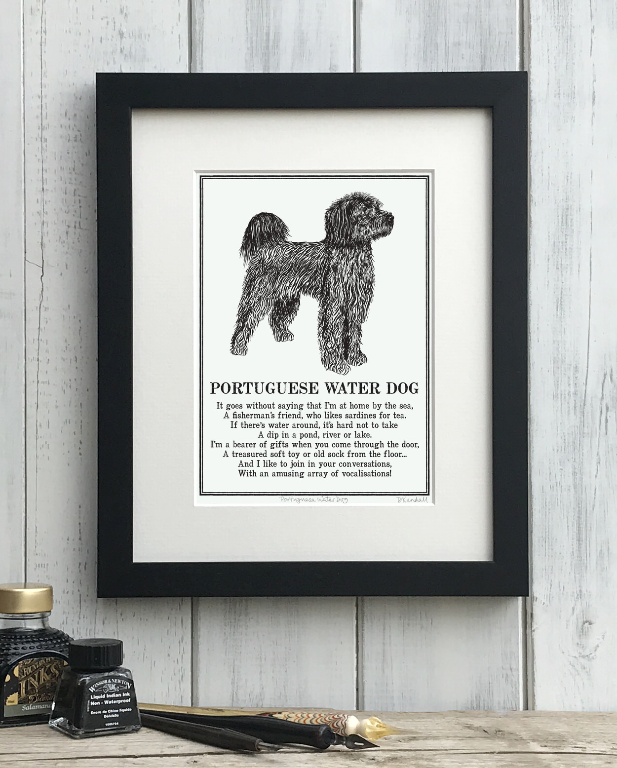 Portuguese Water Dog Illustrated Poem Print | The Enlightened Hound