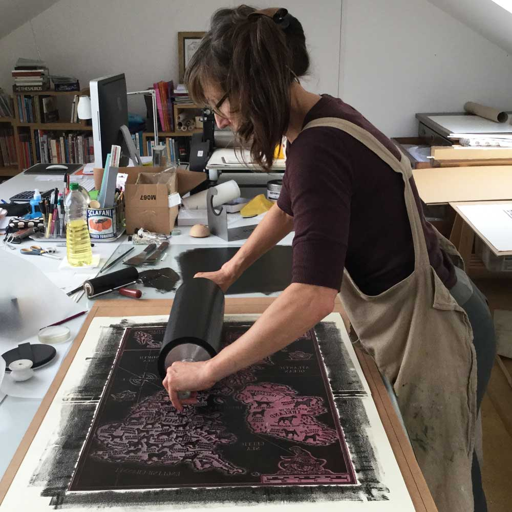 Printmaker Debbie Kendall of The Enlightened Hound