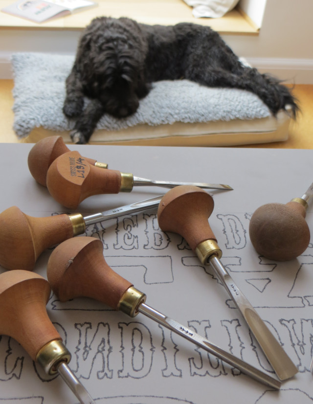 Linocut Tools in Studio with dog | The Enlightened Hound