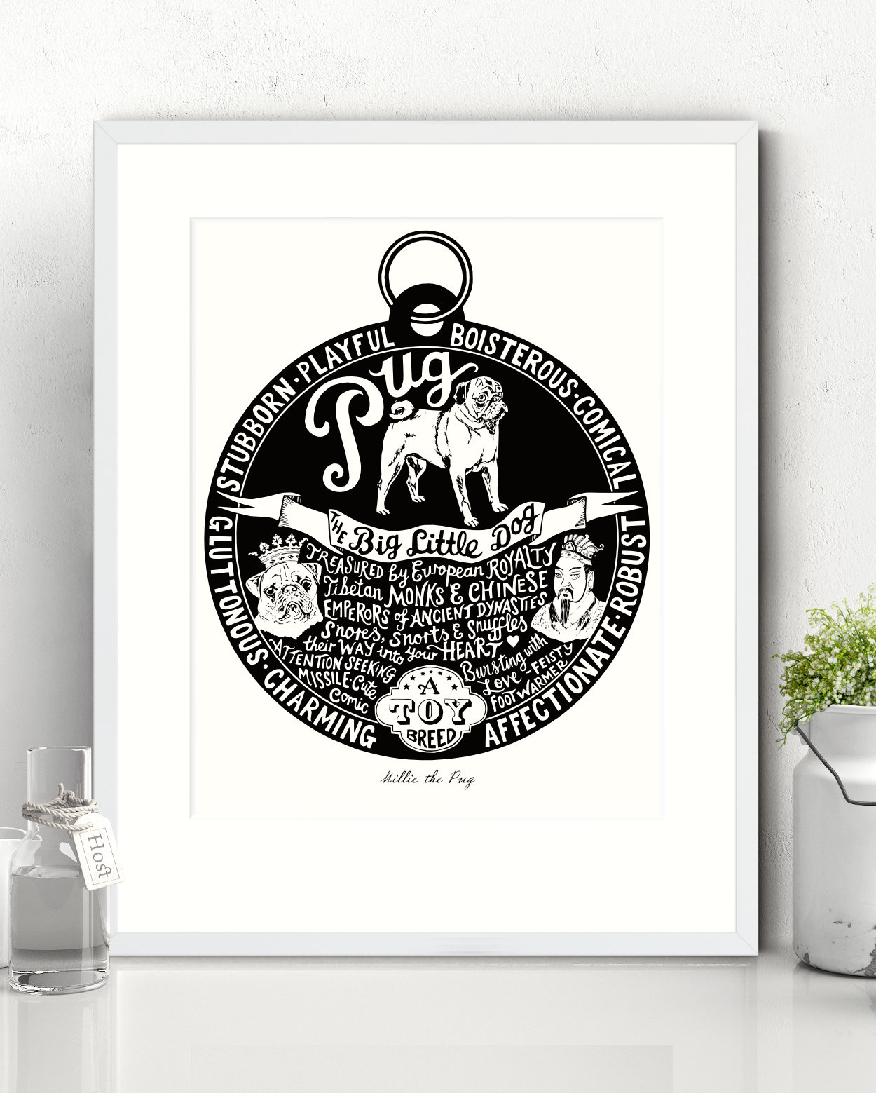 Pug Illustrated Art Print   The Enlightened Hound