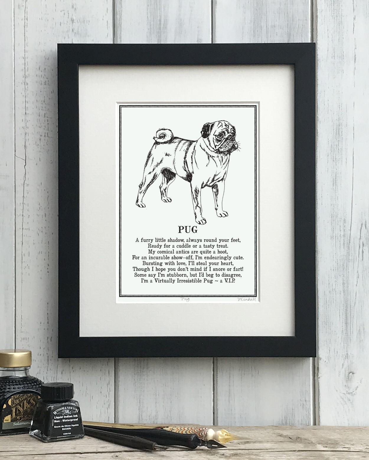 Pug print illustrated poem by The Enlightened Hound